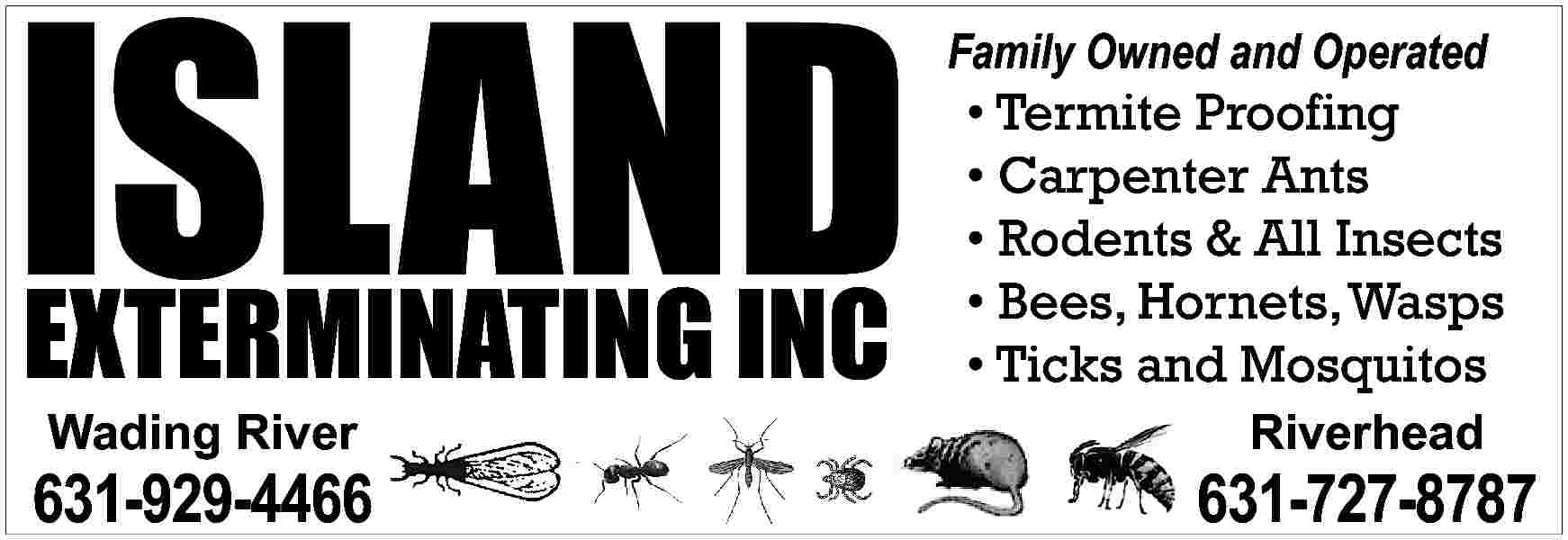 ISLAND EXTERMINATING INC Family ISLAND EXTERMINATING INC  Family Owned and Operated      Termite Proofing     Carpenter Ants     Rodents & All Insects     Bees, Hornets, Wasps     Ticks and Mosquitos  Wading River  Riverhead  631-929-4466  631-727-8787